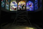 Photographing The Chagall stained-glass windows in Jerusalem, with Sasha Flit, August 2012
